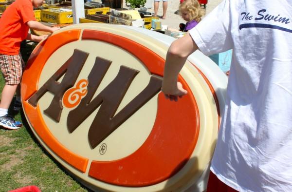 Flea Market A&W Rootbeer signs