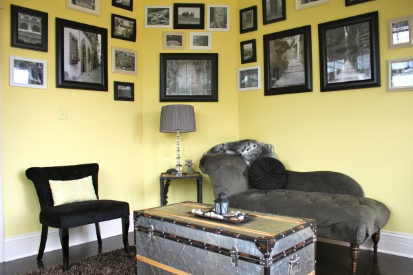 Yellow Gray Sunroom Black & White Photo Gallery